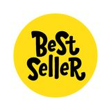 Best Seller yellow black white text label. Bestseller word. Bright Design element for cover books, products pack. Hand drawn stock photos