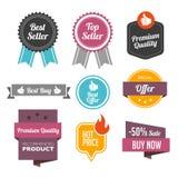 Best-sellerkentekens en Etiketten vector illustratie
