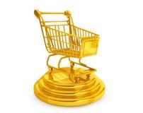 Best Sellers concept. Golden Shopping Cart Vector Illustration