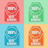 Best service 100 percentages, four colors web icons. Best service 100 percentages - four colors web icons, flat design, business support concept vector illustration