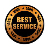 Best service 100 percentages in golden black circle label. Best service 100 percentages - text in 3d golden black circle label with stars, business concept Royalty Free Stock Images