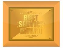 Best service award. Illustration design golden plate Stock Image