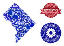 Best Service Composition of Map of District Columbia and Grunge Watermarks vector illustration