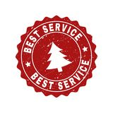 BEST SERVICE Grunge Stamp Seal with Fir-Tree royalty free illustration
