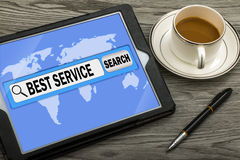 Best service in search bar Stock Image