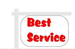 """Best Service Sign. This is a vector illustration. On a sign are written the words """"Best Service"""". The letters are red. The background of the Royalty Free Stock Photography"""