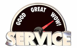 Best Service Top Rated Company Business Speedometer Words. 3D Stock Photo