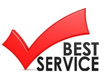 Best service word with red check mark. 3D rendering Royalty Free Stock Photos