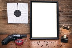Best shooter award. Shooter certificate. Shooter award diploma. Best shooter diploma. First place winner in shooting. Professional shooter certificate mock up Stock Photo