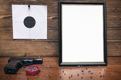 Best shooter award. Shooter certificate. Shooter award diploma. Professional shooter certificate mock up. Best shooter diploma. First place winner in shooting Royalty Free Stock Images