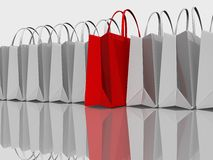 Best Shopping. Red and shopping white bags Stock Photos