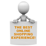 Best shopping experience. Best online shopping experience, white background, little 3d man holding a banner stock illustration