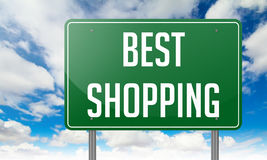 Best Shopping on Green Highway Signpost. Royalty Free Stock Images
