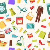 Best shopping illustration concept. Template of icons seamless patern design. Many object purchased in the store. In Royalty Free Stock Images