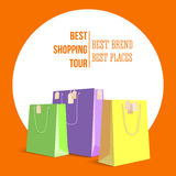 Best shopping tour, advertising banner with paper bags and label from new purchased items on bright orange backdrop. Template, mock-up with yellow, green and Stock Photo