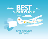 Best shopping tour design template. Stock Photos