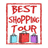 Best shopping tour sign or stamp. On white background, vector illustration Stock Images