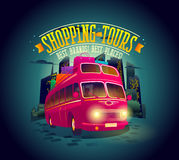 Best shopping tours poster with riding double-decker bus against night city background  Royalty Free Stock Photos
