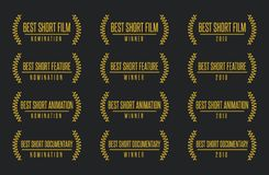 Best short movie award winner  logo set. Movie award best short animated feature film motion picture documentary nomination winner black gold  icon set Royalty Free Stock Photos