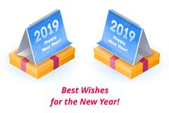 Best and sincere wishes and congrats happy New Year. The calendar with 2019 number on the Gift in a festive box with a red ribbon. The New Year congrats flat vector illustration