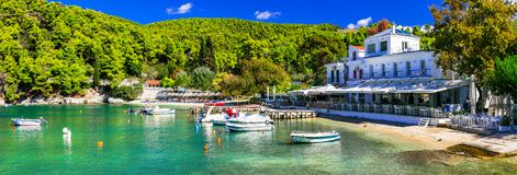 Picturesque fishing village Agnontas ,Skopelos island,Greece. stock image