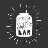 The best smoothie bar. Modern hand draw lettering illustration of smoothie cocktail topic. Colorful picture for bar menu, vegan cafe, print, flayers, advertising Royalty Free Stock Image
