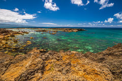 Best snorkeling Oahu. Scenic landscape of Sharks Cove, Hawaii, a small rocky bay side of Pupukea Beach Park. Sharks Cove is the second best snorkeling site on Royalty Free Stock Photography
