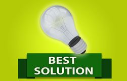 BEST SOLUTION concept with banner and light bulb. Colorful BEST SOLUTION concept with green text banner and 3d rendered domestic light bulb, isolated with a glow Stock Image