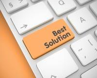 Best Solution - Message on Orange Keyboard Keypad. 3D. Royalty Free Stock Images