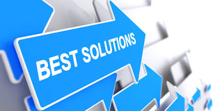 Best Solutions - Text on Blue Cursor. 3D. Royalty Free Stock Photography