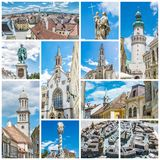 Best of Sopron in Hungary, collage. Best of Sopron city in Hungary, Europe. Collage of travel images Stock Photos