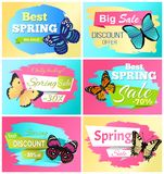 Best Spring Discount 30 Off Labels Butterflies. Spots on wings, butterflies on promo emblems vector advertisement sticker, springtime creatures set Stock Images