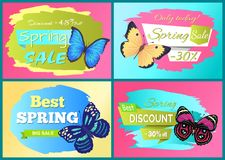 Best Spring Sale 70 Off Sticker Butterfly Vector. Best spring sale 70 off stickers set butterfies color with ornaments and decorated wings, vector illustration Royalty Free Illustration