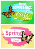 Best Spring Sale 70 Off Stickers Set Butterflies. Best spring sale 70 off stickers collection butterflies with ornaments and decorated wings, vector illustration Stock Illustration