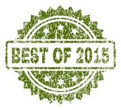 Scratched Textured BEST OF 2015 Stamp Seal. BEST OF 2015 stamp seal watermark with rubber print style. Green vector rubber print of BEST OF 2015 caption with Stock Illustration