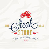 The Best Steak Store Vintage Typography Label, Emblem or Logo Template. Premium Quality Meat Sign. Butchery and Barbecue Royalty Free Stock Photography