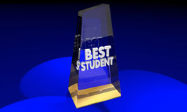 Best Student Learner Award Trophy Prize. 3d Illustration Stock Photo