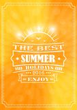 The best summer and the best summer holidays. Lettering on a background of summer shades with sunbeams and lens flare and glow Vector Illustration