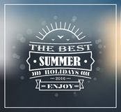 The best summer and the best summer holidays. Lettering on a background of summer shades with sunbeams and lens flare and glow Royalty Free Illustration