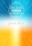 The best summer and the best summer holidays. Lettering on a background of summer shades with sunbeams and lens flare and glow Stock Illustration