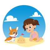 The best summer child's outdoor activities on the beach. Vector and illustration Royalty Free Stock Photo