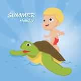 The best summer child's outdoor activities on the beach. Royalty Free Stock Photo