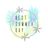 Best Summer day. Tropical exotic plants. Stylish poster, trendy graphics. Royalty Free Stock Photography