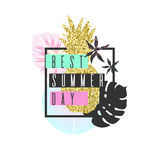 Best Summer day. Tropical exotic plants. Stylish poster, trendy graphics. Royalty Free Stock Images