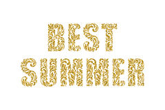 BEST SUMMER. Decorative Font made in swirls and floral elements Royalty Free Stock Photography