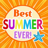 Best summer ever retro poster Royalty Free Stock Images