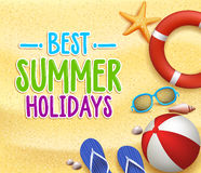 Best Summer Holidays Colorful Title Words in the Beach Yellow Sand. With Slippers, Starfish, Sea Shells, Lifebuoy, ball and Shades. Vector Illustration Stock Images