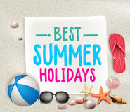 Best Summer Holidays Colorful Title Words in a paper with White Sand Stock Image