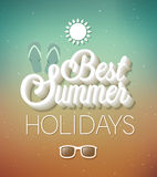 Best Summer Holidays typographic design. Royalty Free Stock Photos