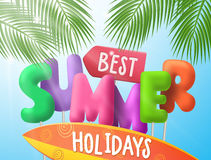 Best summer holidays vector banner with colorful 3d text Royalty Free Stock Photo